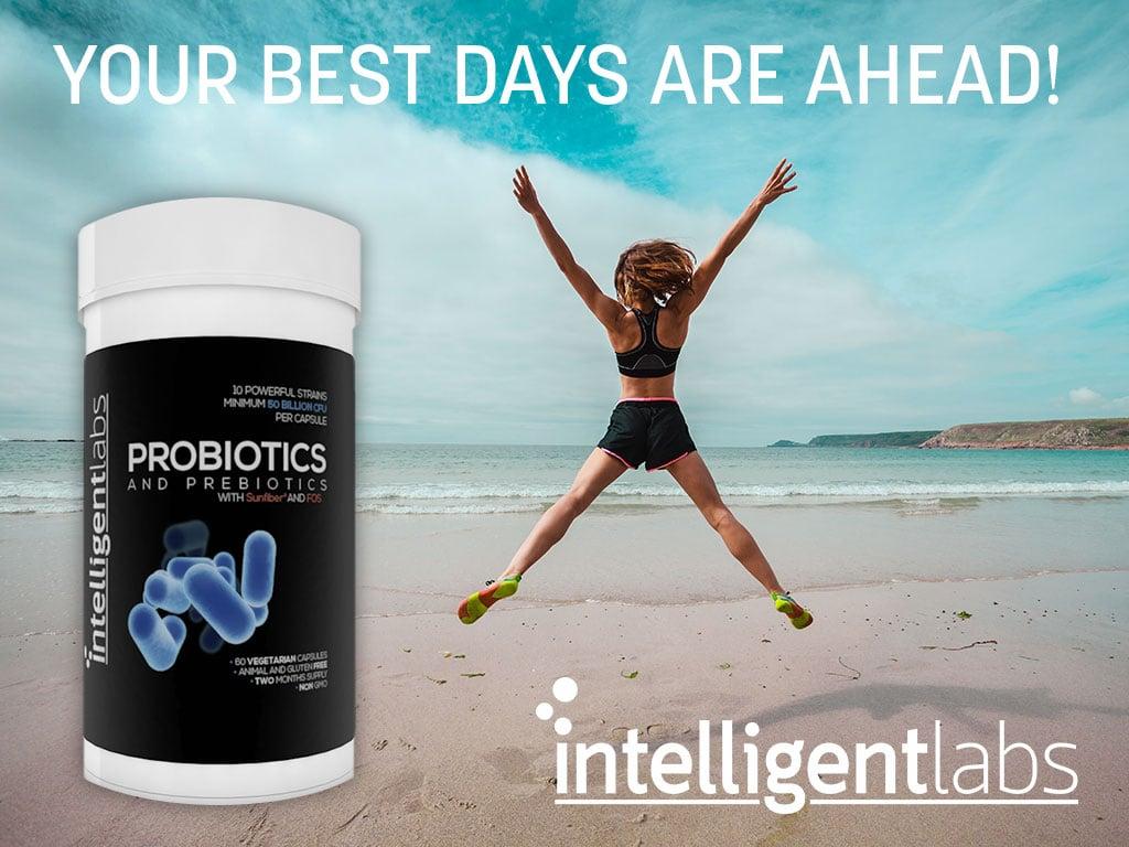 frasco de probióticos